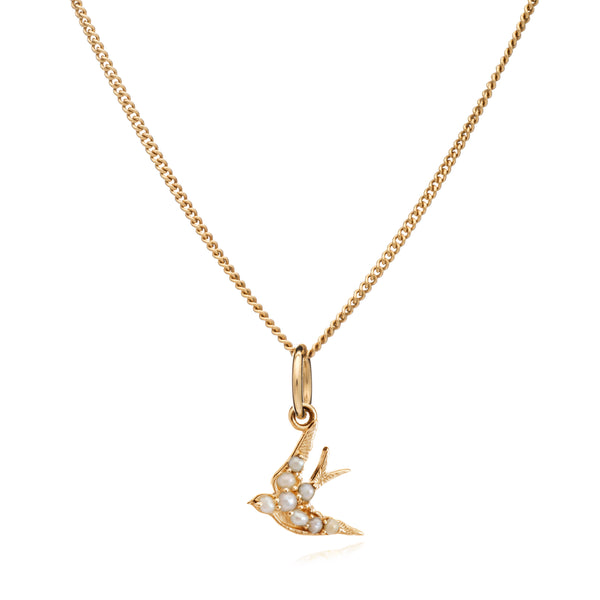 Mother of Daughters Swallow charm necklace gold Rachel Jackson London
