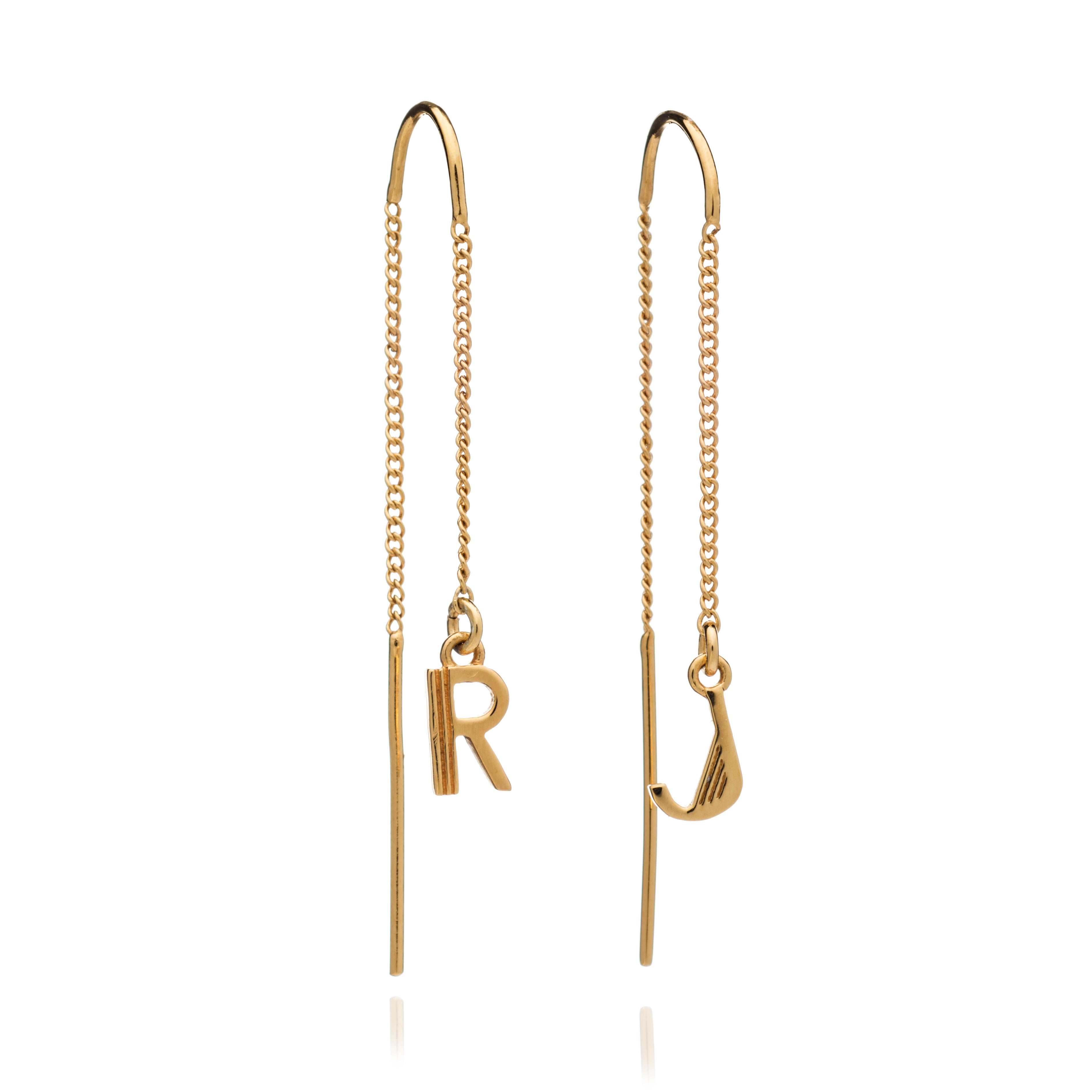 Initial Threader Earrings in Gold
