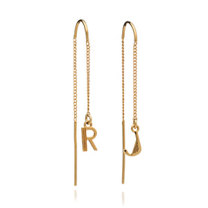Art Deco Initial Chain Earrings - Gold