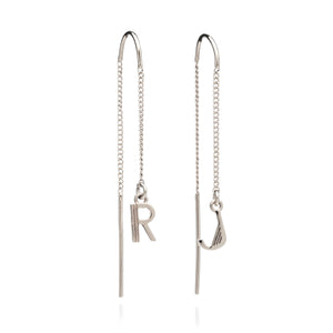Art Deco Initial Chain Earrings - Silver