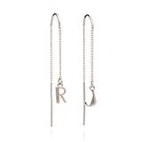 Initial Threader Earrings in Silver