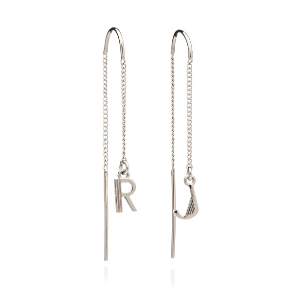 Initial chain threader earrings silver Rachel Jackson London