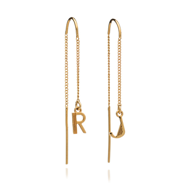 Initial chain threader earrings gold Rachel Jackson London