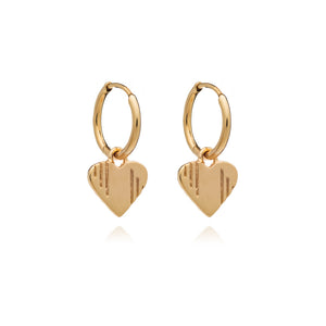 Heart Huggie Hoops - Gold
