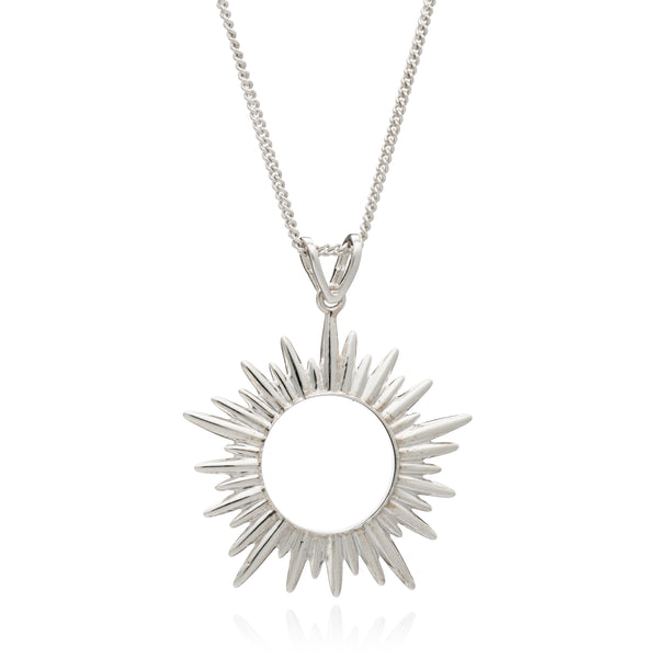 Medium Silver Sun Necklace Rachel Jackson London