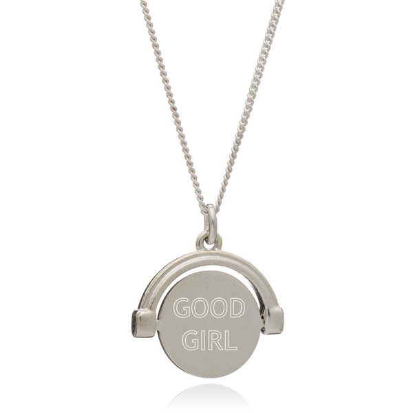 """Good Girl / Bad Girl"" Mini Spinning Necklace - Silver"
