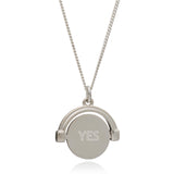 """Yes / Maybe"" Mini Spinning Necklace - Silver"