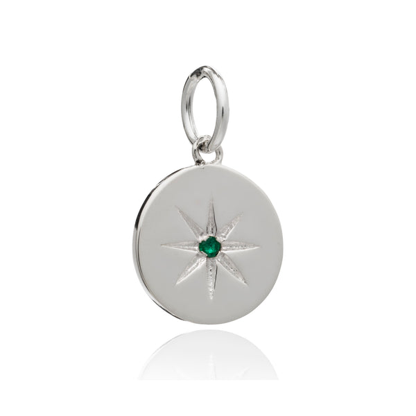 Mother of Daughters May Birthstone disc charm silver Rachel Jackson London
