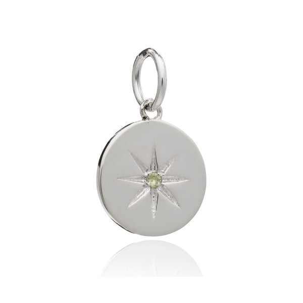 Mother of Daughters August Birthstone disc charm silver Rachel Jackson London