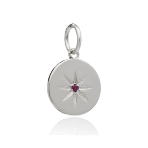 July Birth Star Charm - Silver