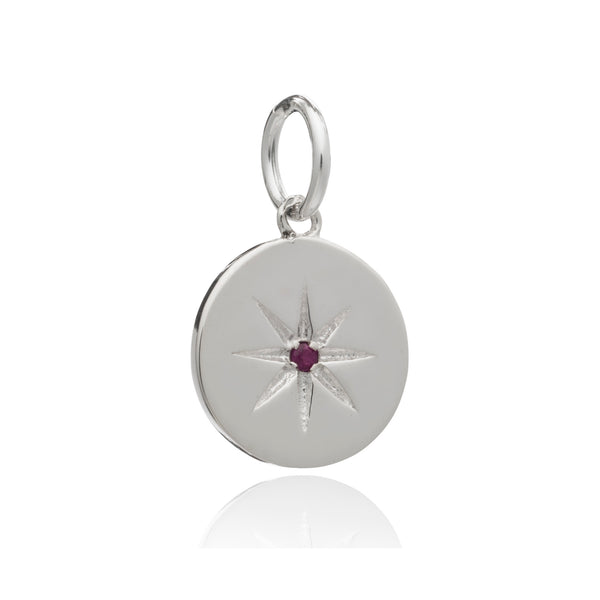 Mother of Daughters July Birthstone disc charm silver Rachel Jackson London