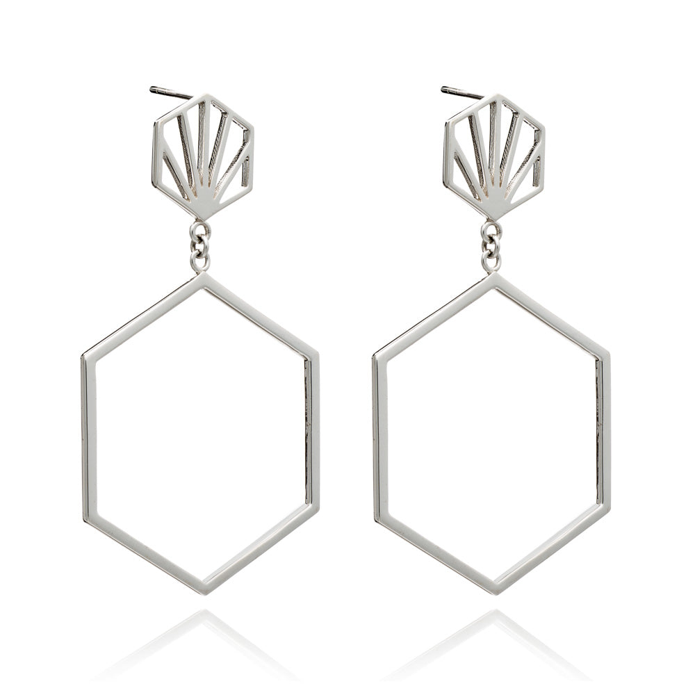Front Facing Hexagon Hoops in Silver