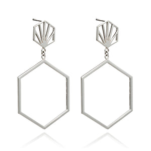 Front Facing Hexagon Hoop Earrings - Silver