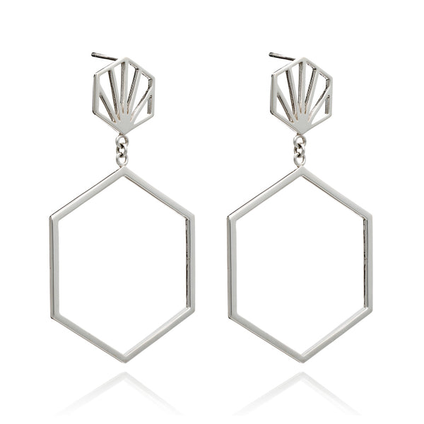 Front facing hexagon earrings chandelier stud silver Rachel Jackson London