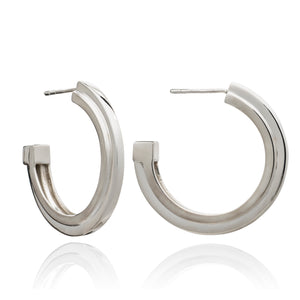 Large Art Deco Stepped Hoop Earrings - Silver