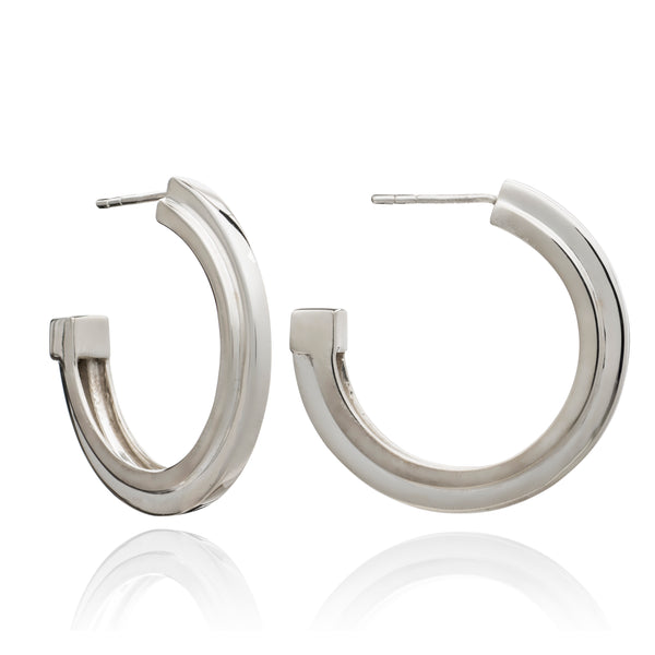 Large stepped hoops silver Rachel Jackson London