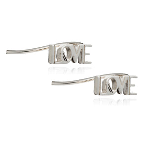 Art Deco Love Crawler Earrings - Silver