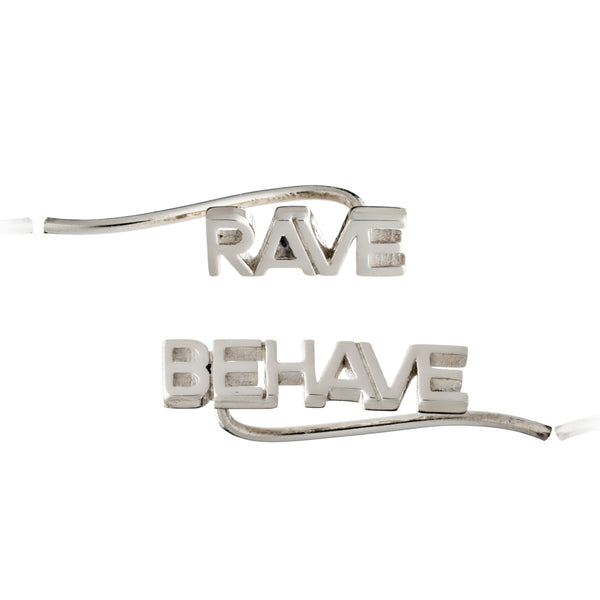 Ear crawler earrings silver rave behave Rachel Jackson London