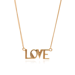 Art Deco Love Necklace - Gold