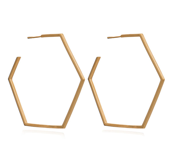 Oversized large hexagon hoops gold Rachel Jackson London