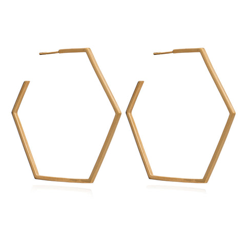 Oversized Hexagon Hoop Earrings in Gold