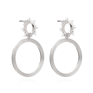 Electric Goddess Front Facing Hoops - Silver