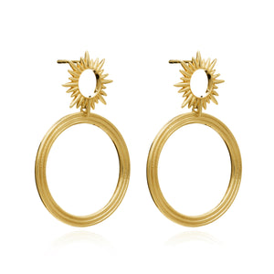 Electric Goddess Front Facing Hoops in Gold