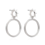 Rachel Jackson London Silver Sun Ray Front Facing Dangling Hoop Earrings
