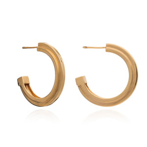 Large Art Deco Stepped Hoops - Gold