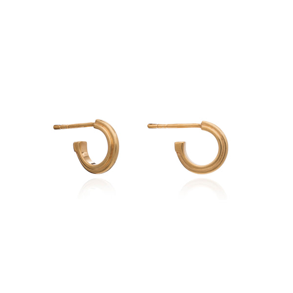 Mini stepped hoops gold Rachel Jackson London