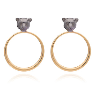 Full Moon Panther Hoop Earrings - Black & Gold