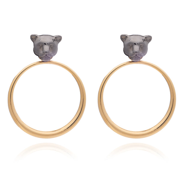 Black and gold moon cat earrings Rachel Jackson London