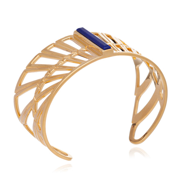 Egyptian Goddess Wing cuff bracelet gold lapis lazuli Rachel Jackson London