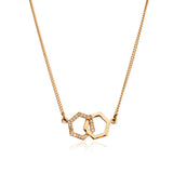 Infinity Diamond Hexagon Necklace - Gold Vermeil