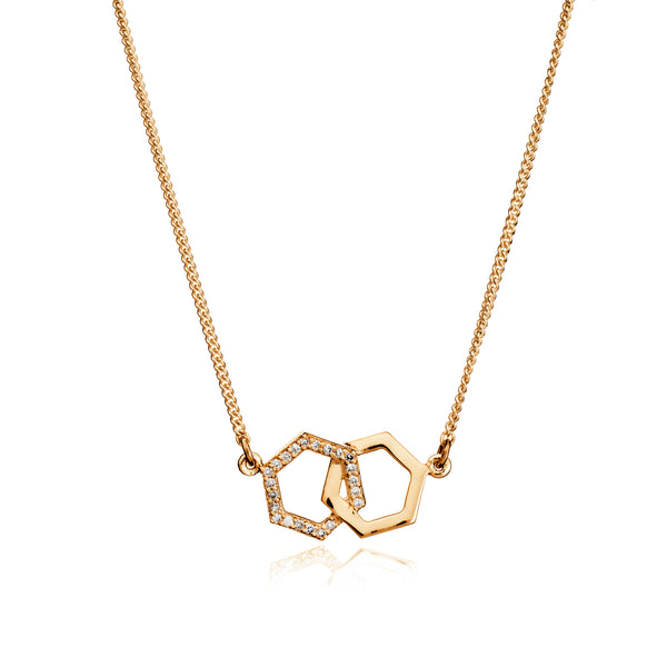Interlocking Diamond Hexagon Necklace in Gold