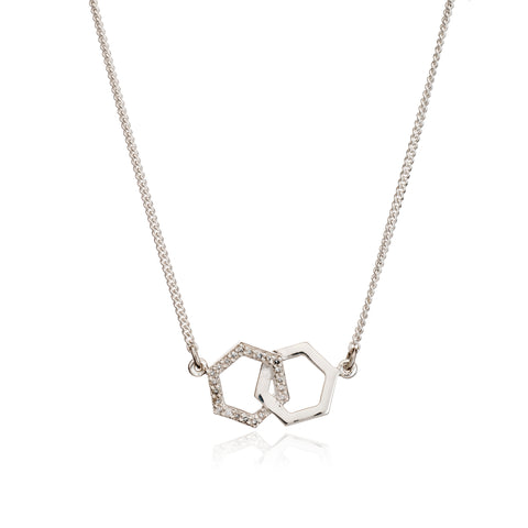 Interlocking Diamond Hexagon Necklace in Silver