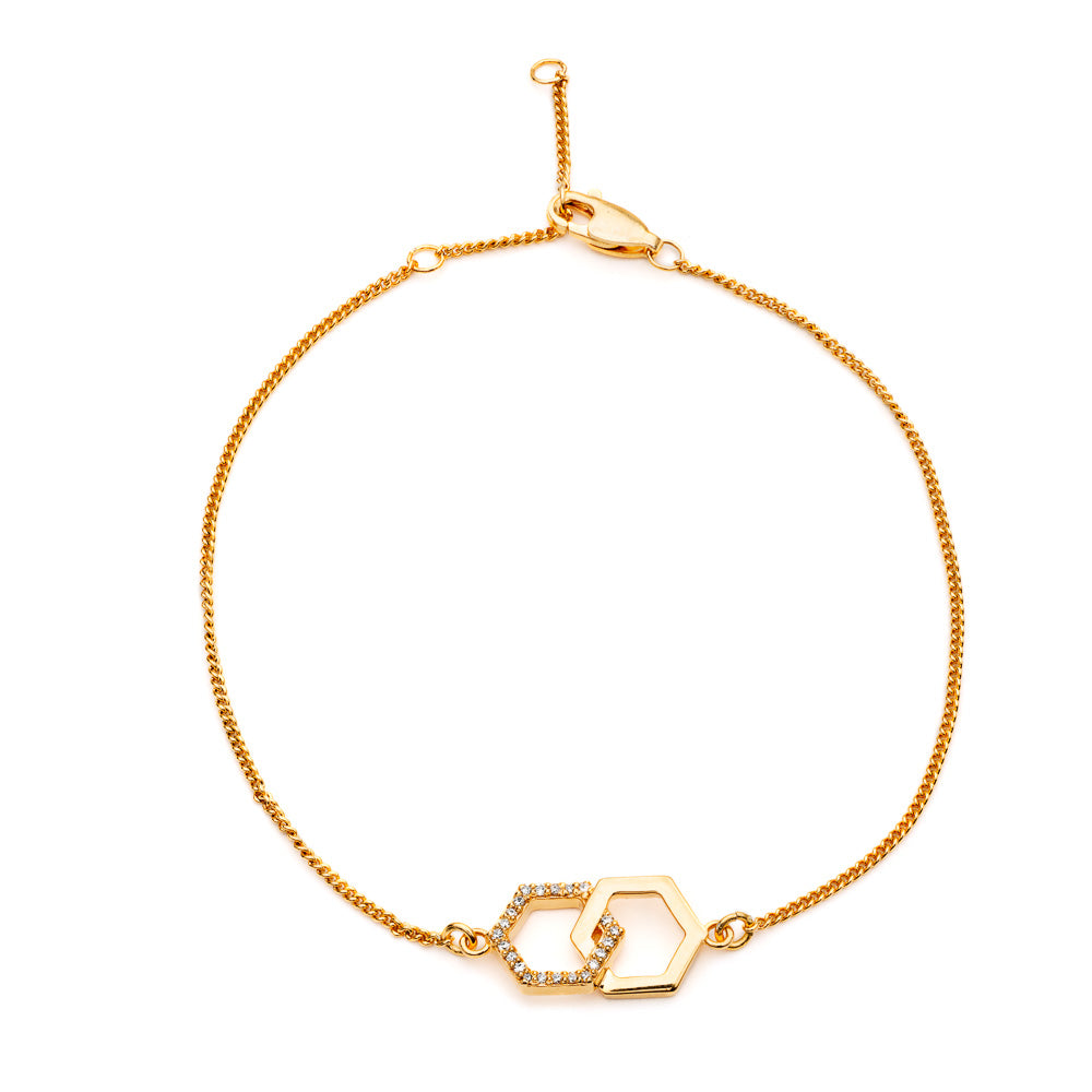 Interlocking Diamond Hexagon Bracelet in Gold