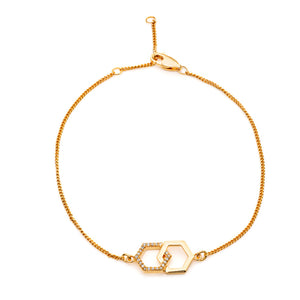 Infinity Diamond Hexagon Bracelet - Gold Vermeil