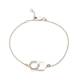 Infinity Diamond Hexagon Bracelet - Silver