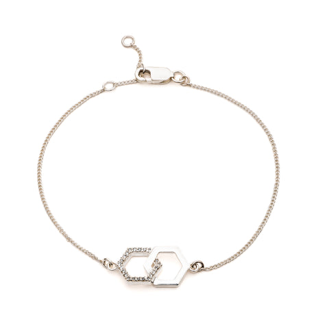 Interlocking Diamond Hexagon Bracelet in Silver