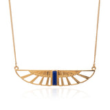 Egyptian Goddess Wing Necklace gold lapis lazuli Rachel Jackson London