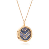 Love Sapphire Tanzanite Birthstone chevron necklace gold Rachel Jackson London