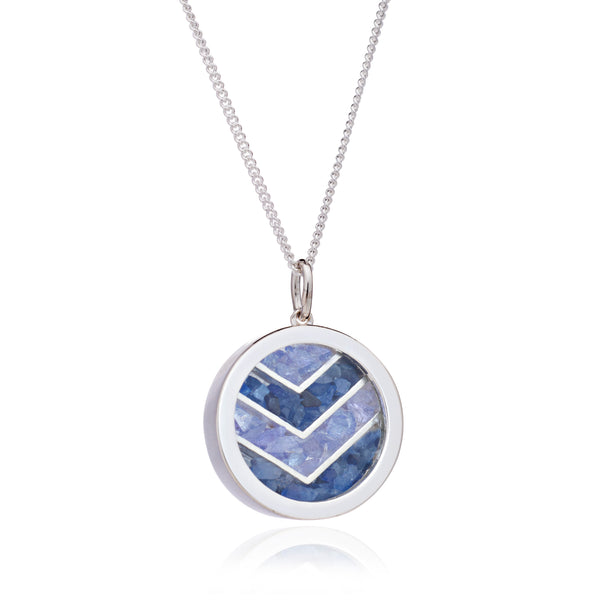 Love Sapphire Tanzanite Birthstone chevron necklace silver Rachel Jackson London