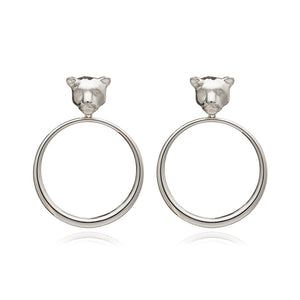 Full Moon Panther Hoop Earrings - Silver