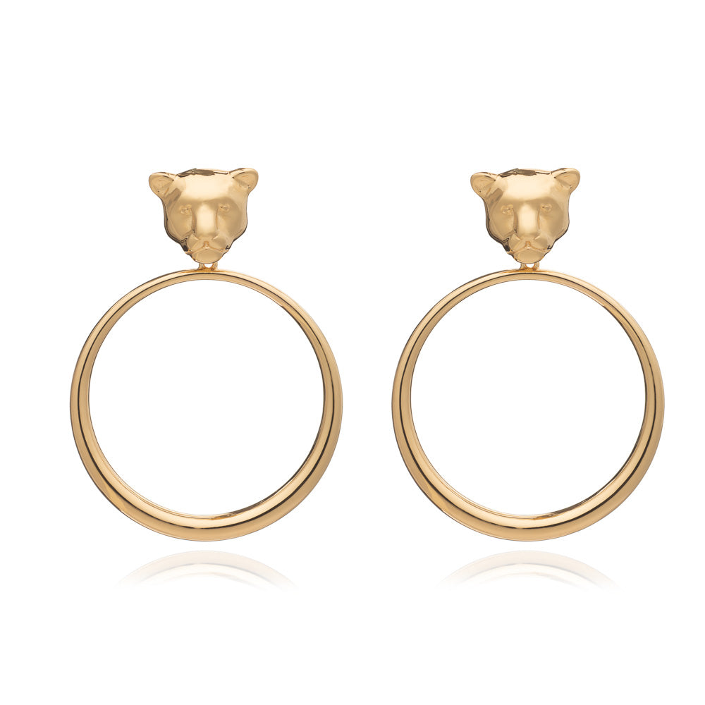 Gold moon cat earrings Rachel Jackson London