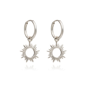 Eternal Sun Mini Hoop Earrings - Silver