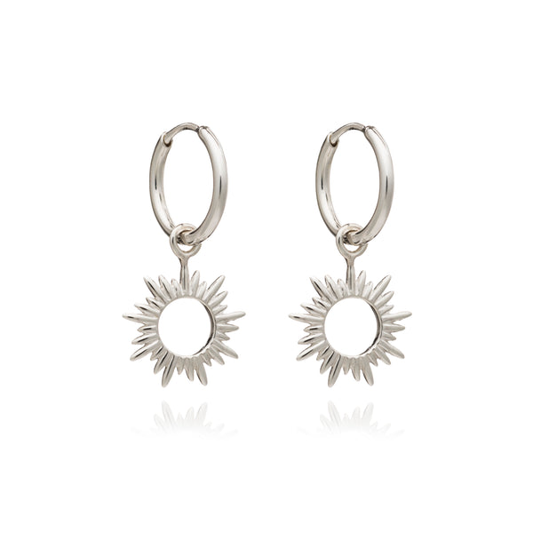 Sun huggie hoop Earrings silver Rachel Jackson London