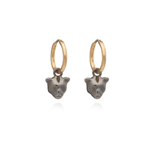 Mini Panther Hoop Earrings - Black & Gold