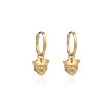 Gold cat earrings Rachel Jackson London