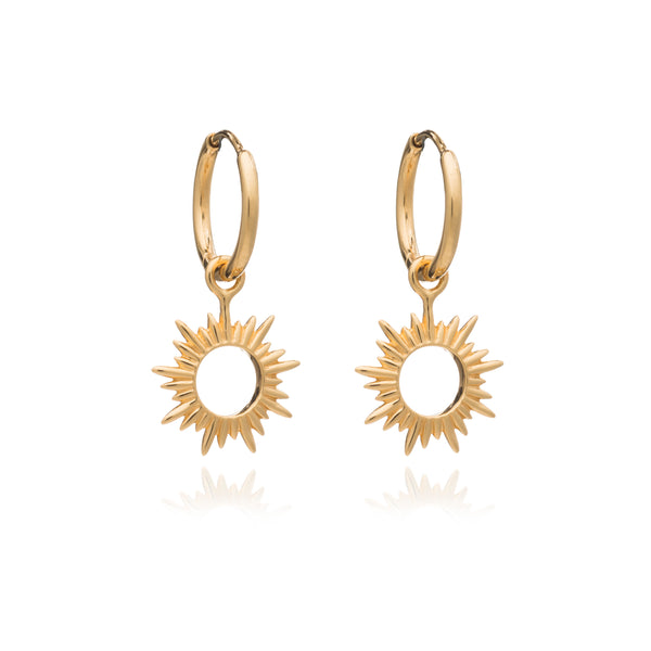 Sun huggie hoop Earrings Gold Rachel Jackson London